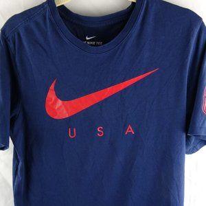 Nike Men's Graphic T-Shirt USA Medium Blue Dri-Fit